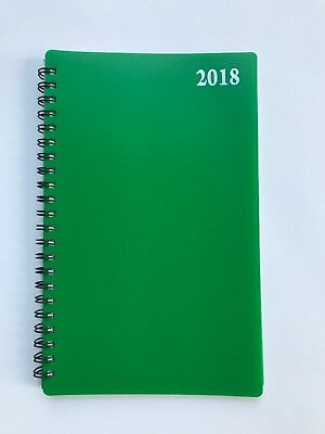 2018 Dated Day Planner Calendar Appointment Book Monthly/Weekly Spiral 5x8 GREEN