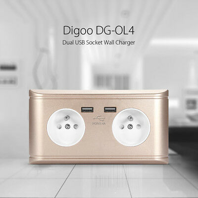 Digoo 2.4A Dual USB Port Wall Charger Adapter EU Plug Socket Power Outlet Panel