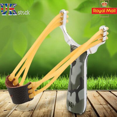 Stainless Steel Handle Outdoor Pro Hunting Catapult Slingshot High Velocity UK