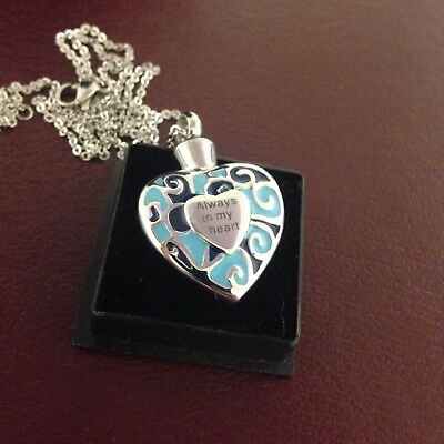 """Memorial Cremation Jewellery/Pendant/Urn/Keepsake for Ashes-""""Coloured Heart"""""""