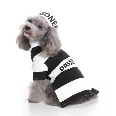Pet Dog Cat Costume Prison Uniform Dress Up Party Halloween Clothes With Hat UK