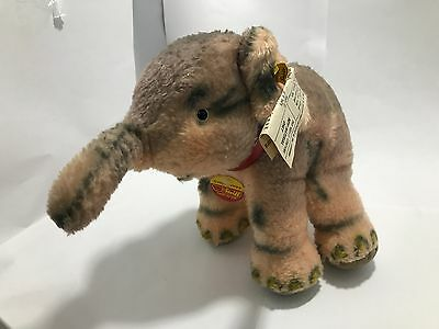 Original Steiff Cosy Trampy Elephant Plush Woven Fur - 4880/20 - Made In Austria