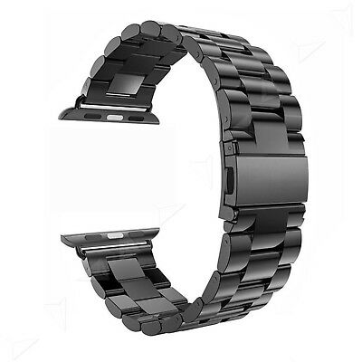 42mm Stainless Steel Replacement Strap Classic Buckle Watch With Adapter Black