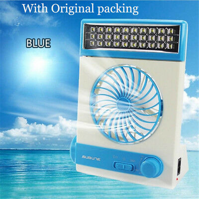Rechargeable Solar Power Fan Vent Cooling Blower W/ LED Light for Camping +Box