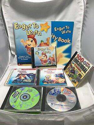 Vintage Kids PC Games Lot - Dr. Brain, 100 Games, Eager To Learn, Thinkin' Thing
