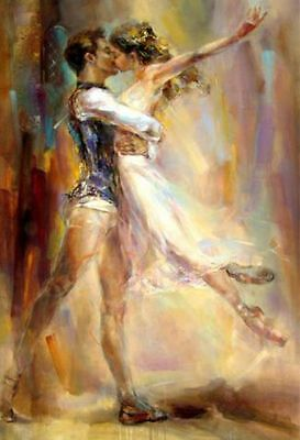 Kiss Dancer Hand painted Portrait Oil Painting Decor Art on Canvas Abstract  36