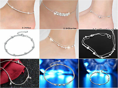 Fashion Ankle Bracelet 925 STERLING SILVER plt Anklet Foot Jewelry Chain Beach