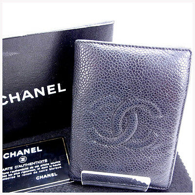 Auth CHANEL business card holder caviar skin COCO Mark / used J1692