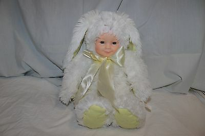 """16"""" Anne Geddes white plush adorable baby in bunny rabbit costume"""