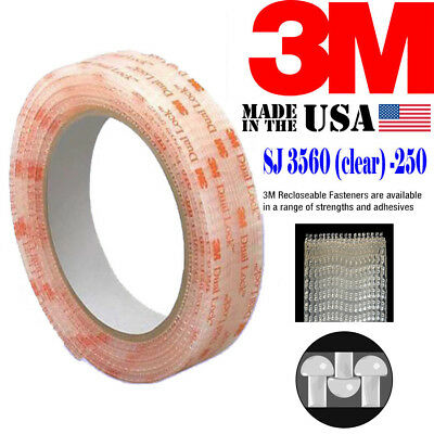 "3M SJ3560 Width 1"" x 12""Inch Dual Lock Tape VHB Clear Reclosable Fastener Roll"