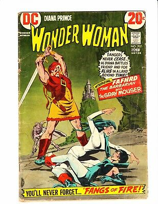 Wonder Woman Comics # 202 -1st full app of Fafhrd & Gray Mouser Catwoman App GD+