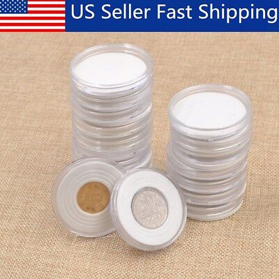 20X 46mm Applied Clear Round Cases Coin Plastic Storage Capsules Holder Round
