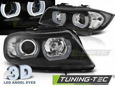 Coppia Set Fari Fanali Anteriori Angel Eyes 3D TUNING BMW Serie 3 E90 91 2005>08