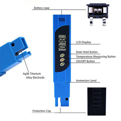 Digital PH Meter TDS Tester Aquarium Pool 60g Hydroponic Water Quality Monitor
