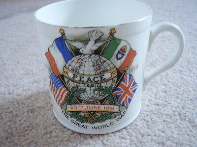 1914-1919 World War Peace Commemorative porcelain Mug,Shelly china,England