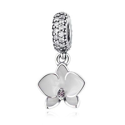 S925 Sterling Silver EURO Charm White Orchid Flower Hanging Dangle Pendant