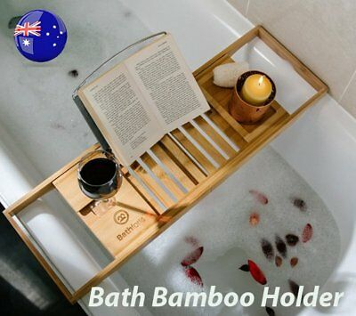 Bathroom Bamboo Bath Caddy Wine Glass Holder Tray Over Bath Tub Book Support