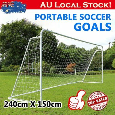 SOCCER GOAL 240cm Steel Frame Portable Football Net No Ball Goals Brand New