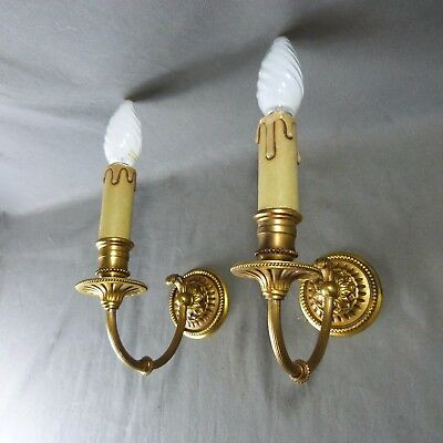 Pair of French Antique Gilted Bronze Candle Wall Sconces Lights