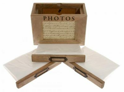 "Rustic Wood Handmade Photo Box Storage Album Holds 72 6 x 4"" Photos Shabby Chic"