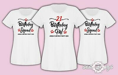 Personalised 18th 21st 30th 40th 50th Birthday Girl Squad T-shirt Ladies Female