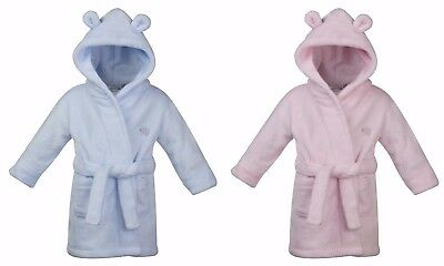 Babytown Baby Girls Boys Pink Blue Soft Velvety Dressing Gown Robe