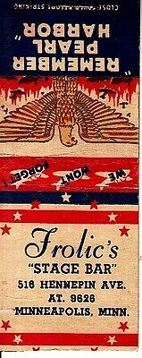 Frolic's Stage Hennepin Ave Minneapolis Minnesota MN Old Matchcover