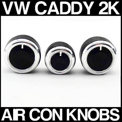 VW CADDY 2K SILVER Custom Air Con Dash Fascia Knobs Heater Dials x 3 NEW