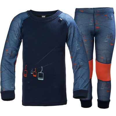Helly Hansen Lifa Merino Kids Baselayer Set, Evening Blue/Skilift