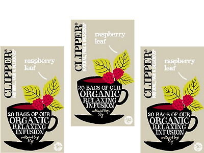 3 x 20 tea bags CLIPPER Organic Relaxing Infusion - Raspberry Leaf * FREE POST *