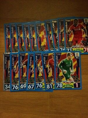 Match Attax 2017/18 18 Liverpool Cards All Listed Topps 17 18