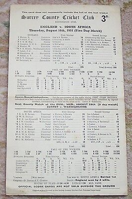 RARE SURREY v WARWICKSHIRE SCORECARD OVAL May 1953 numbered Bedser Laker Hollies