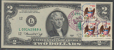 U.S. 2 Dollar Bill Uncirculated First Day of Issue Stamped