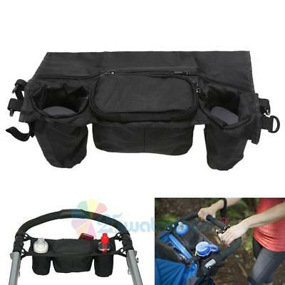 Kid Baby Stroller Pushchair Safe Console Tray Pram Hanging Bag Bottle Cup Holder