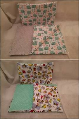 Reversible Baby Blanket Minky and cotton 50x70cm filling 2cm +pillow 30x40cm