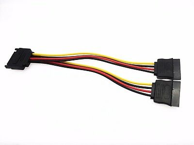 1X SATA 15pin Hard Disk Power Male to 2 Female Splitter Y 1 to 2 Extension Cable