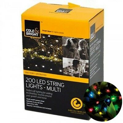 Cole And Bright 200 LED String Garden Lights Multi Color Battery Operated 18576