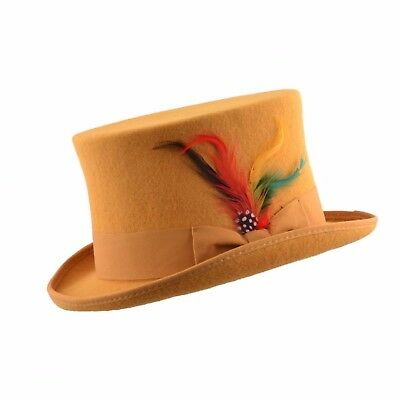 Unisex Mustard Wool Top Felt Hat With Removable Feather And Satin Lined