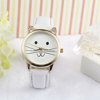 Women Girls Casual Cute Watch Ladies Faux Leather Band Students Wrist Watches