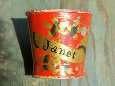 Awesome 1830-1850 Tole Painted Tin Child's Cup