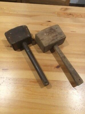 2 Vintage Old Carpenters Hammers; Old Tool; Wooden Mallet