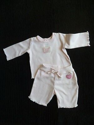 Baby clothes GIRL premature/tiny<7.5lbs/3.4kg outfit L/S pink/white top/trousers