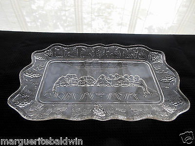 Vintage Indiana Glass Clear Lord's Supper Bread Tray