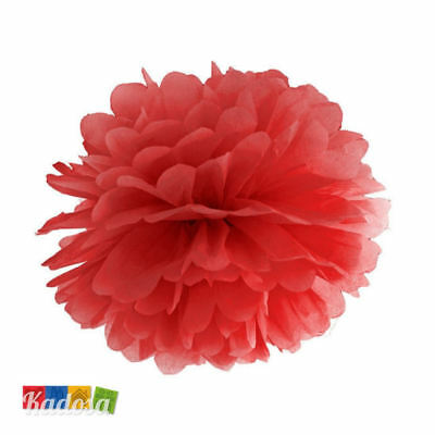 Pom Pom di Carta ROSSO 25 cm - Decorazioni Tissue Party Matrimonio Wedding Festa