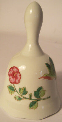 Vintage Hummingbird Dinner Bell Small Ceramic With Flower 4""