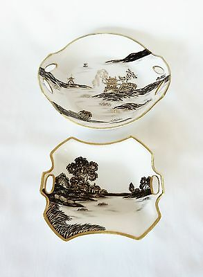 Nippon Hand Painted Dishes Set of 2 Black on White with Gold Accent