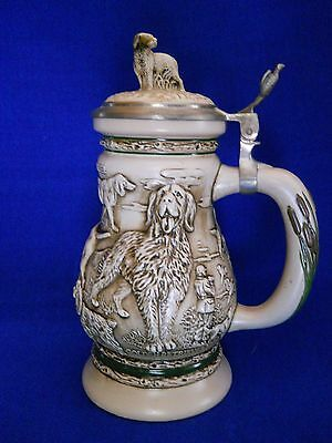 Avon Collectible Stein Great Dogs of the Outdoors Ceramarte Brazil #64461 Lidded