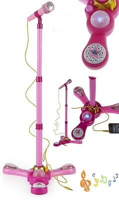 Girls Karaoke Pink Microphone With Adjustable Stand Light and Music Kid Toy Gift