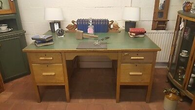 Beautiful Large Green Leather Topped Antique Desk