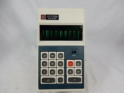 Early 70´s vintage calculator Taschenrechner PRIVILEG NB 800 + manual & case